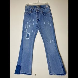 EXPRESS JEANS bell bottoms patchwork distressed